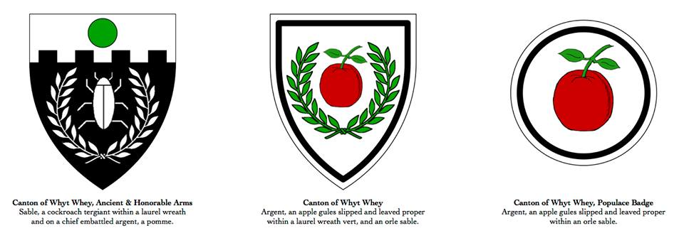 Original arms, new device & new badge for the canton of Whyt Whey.
